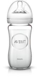 Philips-Avent Biberon din sticlă Natural 240 ml, Tetină ce imita forma sanului mamei, cu debit lent, sticla borosilicilica