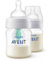 Philips-Avent Pachet 2 Biberoane 125ml cu dispozitiv anticolici AirFree™, Tetină cu debit pentru nou-născut