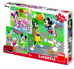 Puzzle 3 in 1 - Mickey si Minnie sportivii - 55 piese