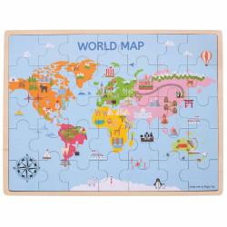 Puzzle din lemn - Harta lumii (35 piese)