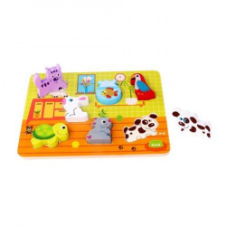 Puzzle incastru animale din lemn Tooky Toy
