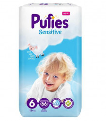 Scutece Pufies Sensitive Nr.6, 13+kg, 66 buc
