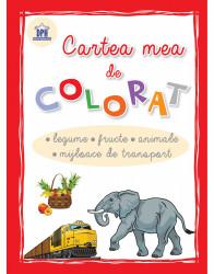 Cartea mea de colorat - legume, fructe, animale, mijloace de transport