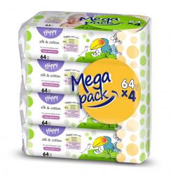 Happy Servetele umede Silk & Cotton mega pack- 64 x 4