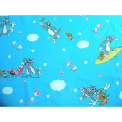 Lenjerie patut - Pisica si Soricel, 4 piese, albastru
