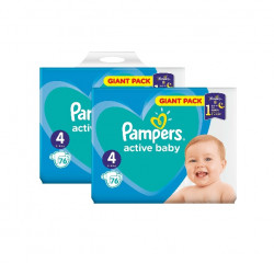 Pachet 2 x Pampers Active Baby Giant Pack - nr.4, 76 buc (152 buc)
