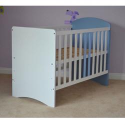 Patut copii din lemn - Anne, 120x60 cm, alb-albastru