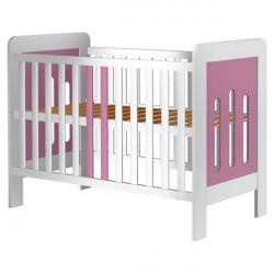 Patut copii din lemn - Sophie, 120x60 cm, alb-roz