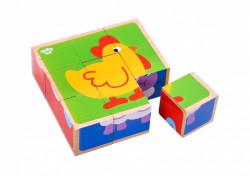 Puzzle cuburi lemn animale