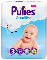 Scutece Pufies Sensitive Nr.3, 6-10kg, 100 buc
