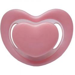 Suzeta silicon ortodontica Primii Pasi, forma inimioara, contur moale, 0L+ Roz