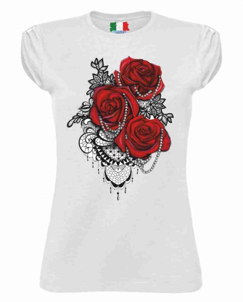 Cotone Arricciate Rose Rosse Donna Maglietta Da Titolo Maniche Fiammato fgIY6myvb7