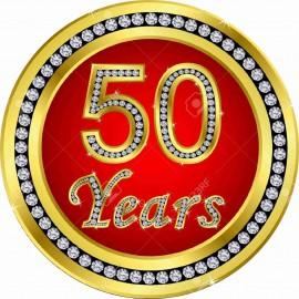 MAGLIETTA IN 100% COTONE UOMO/DONNA PER 50 ANNI TITOLO: 50 YEAH immagini