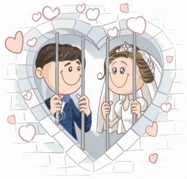 MAGLIETTA IN 100% COTONE UOMO/DONNA PER MATRIMONI: IN PRIGIONE immagini