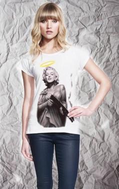 MAGLIETTA IN 100% COTONE DA DONNA  TITOLO:  ANGEL immagini