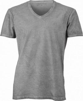T-shirt con scollo a v, 100% cotone single jersey con stampa ORIGINAL FAKE immagini