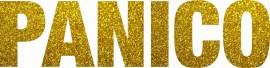 MAGLIETTA NERA 100% COTONE  STAMPA GLITTERATO : PANICO immagini