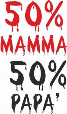 MAGLIETTA 100% COTONE BIMBO/A TITOLO 50 % MAMMA 50 % PAPA' imágenes
