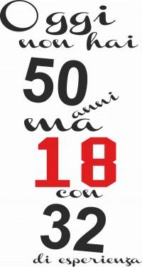MAGLIETTA IN 100% COTONE UOMO/DONNA PER 50 ANNI TITOLO: 50 18 32 immagini