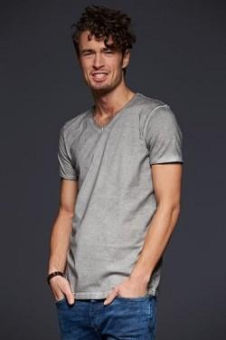 T-shirt con scollo a v, 100% cotone single jersey con stampa Bilder