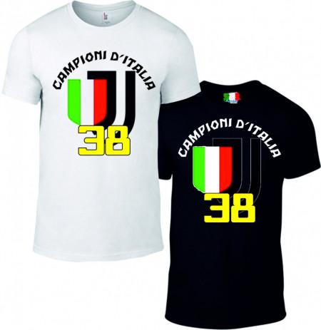 Maglietta bianca e nera da uomo e da donna Campioni di Italia images