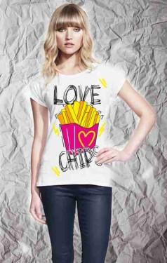 MAGLIETTA IN 100% COTONE DA DONNA  TITOLO:  LOVE immagini
