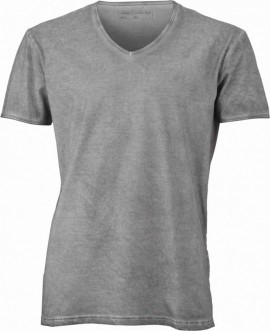 T-shirt con scollo a v, 100% cotone single jersey con stampa ORIGINAL FAKE immagini