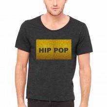 MAGLIETTA NERA 100% COTONE  STAMPA GLITTERATO : HIP POP