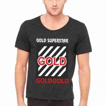 MAGLIETTA NERA 100% COTONE  MODELLO RAPPER TITOLO GOLD