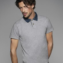 POLO DA UOMO PIQUE' COLLETTO DENIM