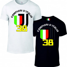 Maglietta bianca e nera da uomo e da donna Campioni di Italia