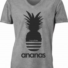 T-shirt con scollo a v, 100% cotone single jersey con stampa ORIGINAL FAKE