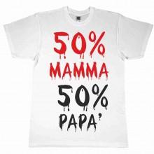 MAGLIETTA 100% COTONE BIMBO/A TITOLO 50 % MAMMA 50 % PAPA'