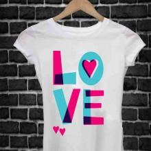 MAGLIETTA IN 100% COTONE UOMO/DONNA PER SAN VALENTINO: LOVE COLOR