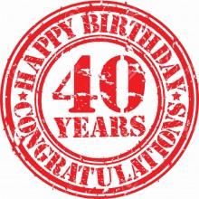 MAGLIETTA IN 100% COTONE UOMO/DONNA PER 40 ANNI TITOLO: YEAR