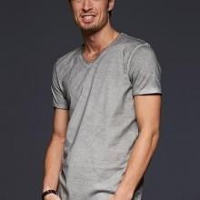 T-shirt con scollo a v, 100% cotone single jersey con stampa