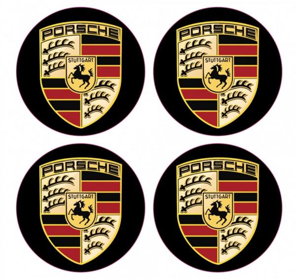 4 Autocolantes Para Centros de Jantes com Porsche