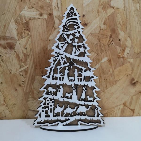Árvore de Natal com presépio - 2 Camadas de MDF