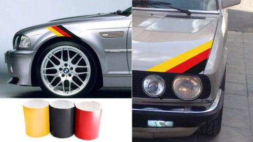 Imagens Autocolantes - Faixas BMW (preto, vermelho, amarelo) 55x5cm