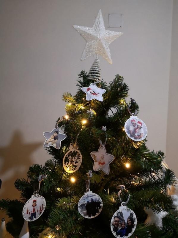 Bola / Estrela para árvore de Natal - Com fotografia