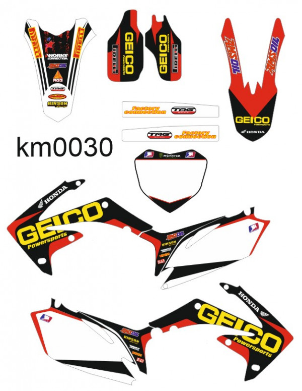 Kit Autocolantes Para Honda CRF 450 - 09-12