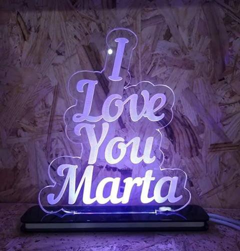 """Moldura / Candeeiro com luz de presença - I love you """"nome"""""""