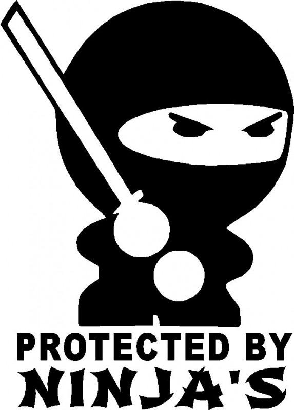 Autocolante - Protected By Ninjas