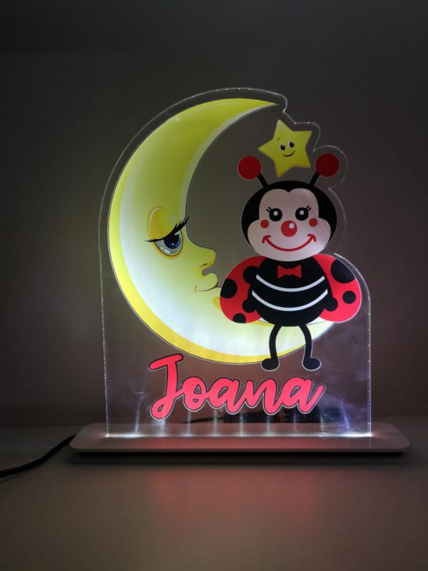 Moldura / Candeeiro com luz de presença com Joaninha e nome