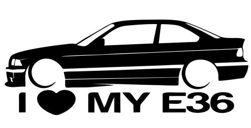 Autocolante para I love BMW E36