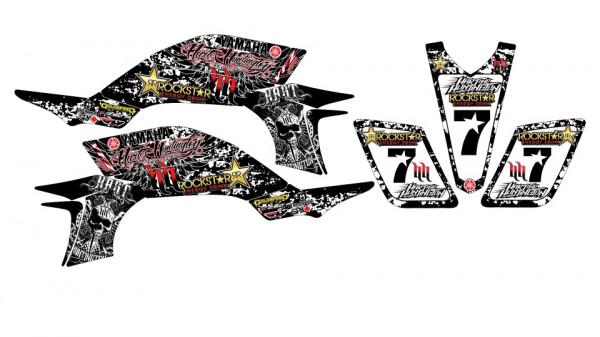 Imagens Kit Autocolantes Para Moto - Yamaha YFZ 450 - Hart and Huntington - Preto e Vermelho