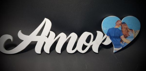 Palavra Amor em Acrílico - Com foto personalizada