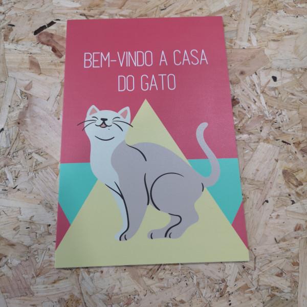 Placa Decorativa em PVC - Bem-vindo A Casa Do Gato
