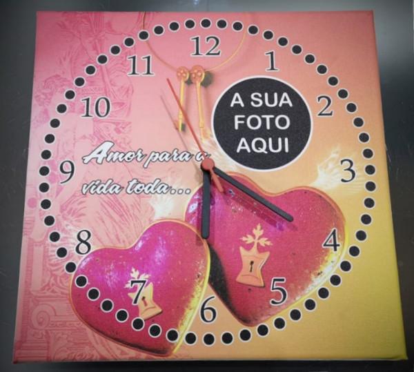 Relógio tela 30x30cm - Amor para a vida toda - com foto