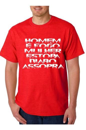 Imagens T-shirt  -Homem É Fogo Mulher Estopa Diabo Assopra